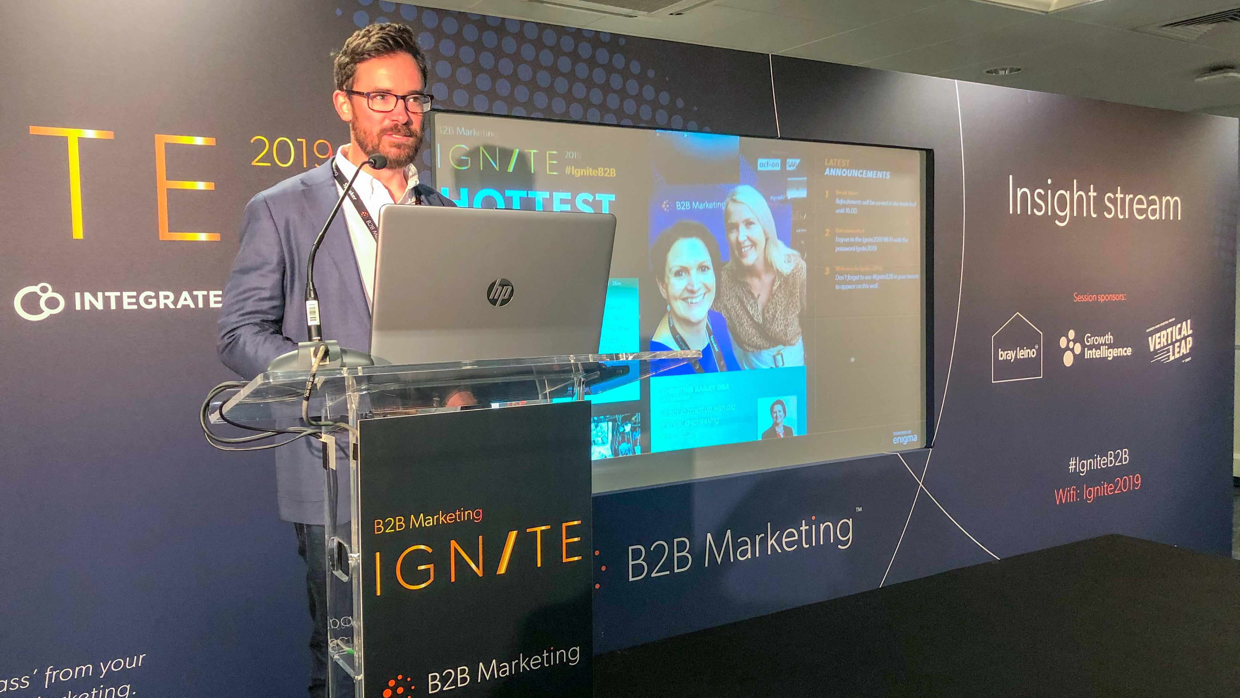 Pete Morgan sharing actionable insight to help marketers improve ROI at Ignite B2B 2019.